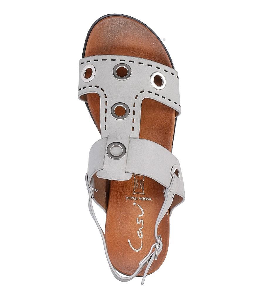 Szare modne sandały z ozdobnymi metalowymi kółkami Casu K18X2/G wysokosc_platformy 2 cm
