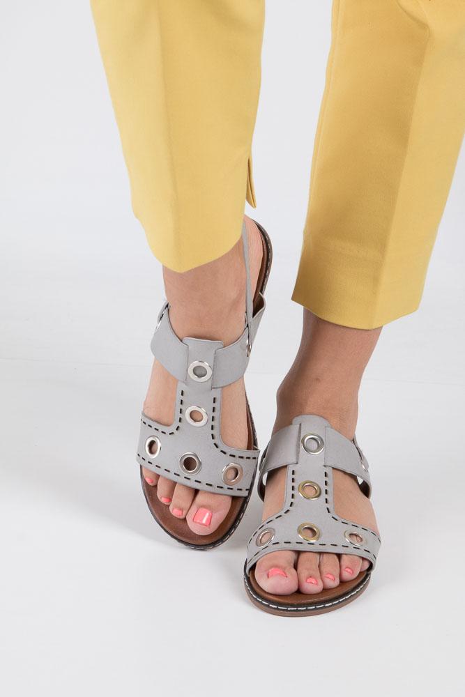 Szare modne sandały z ozdobnymi metalowymi kółkami Casu K18X2/G wierzch skóra ekologiczna
