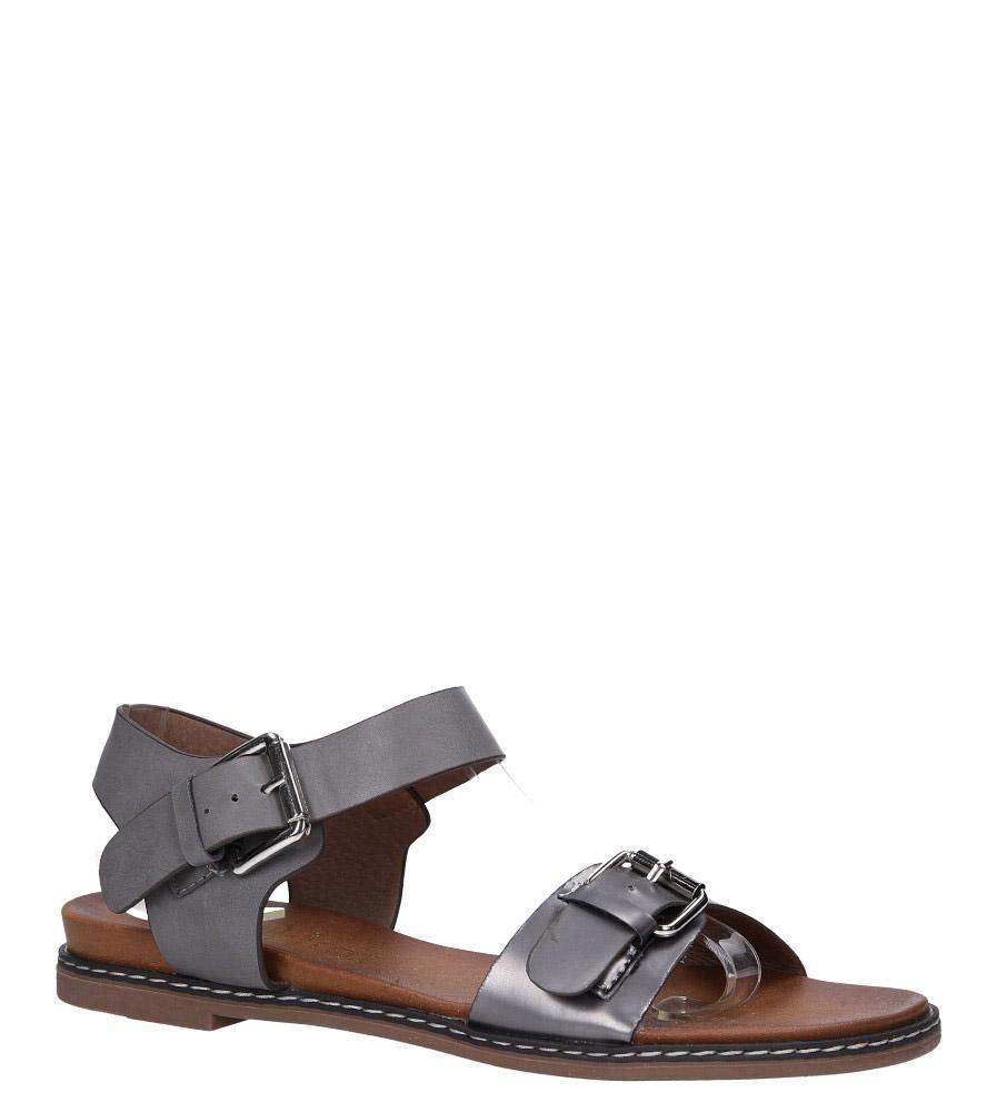 Szare modne sandały ze srebrnymi klamrami Casu K18X12/PE model K18X12/PE