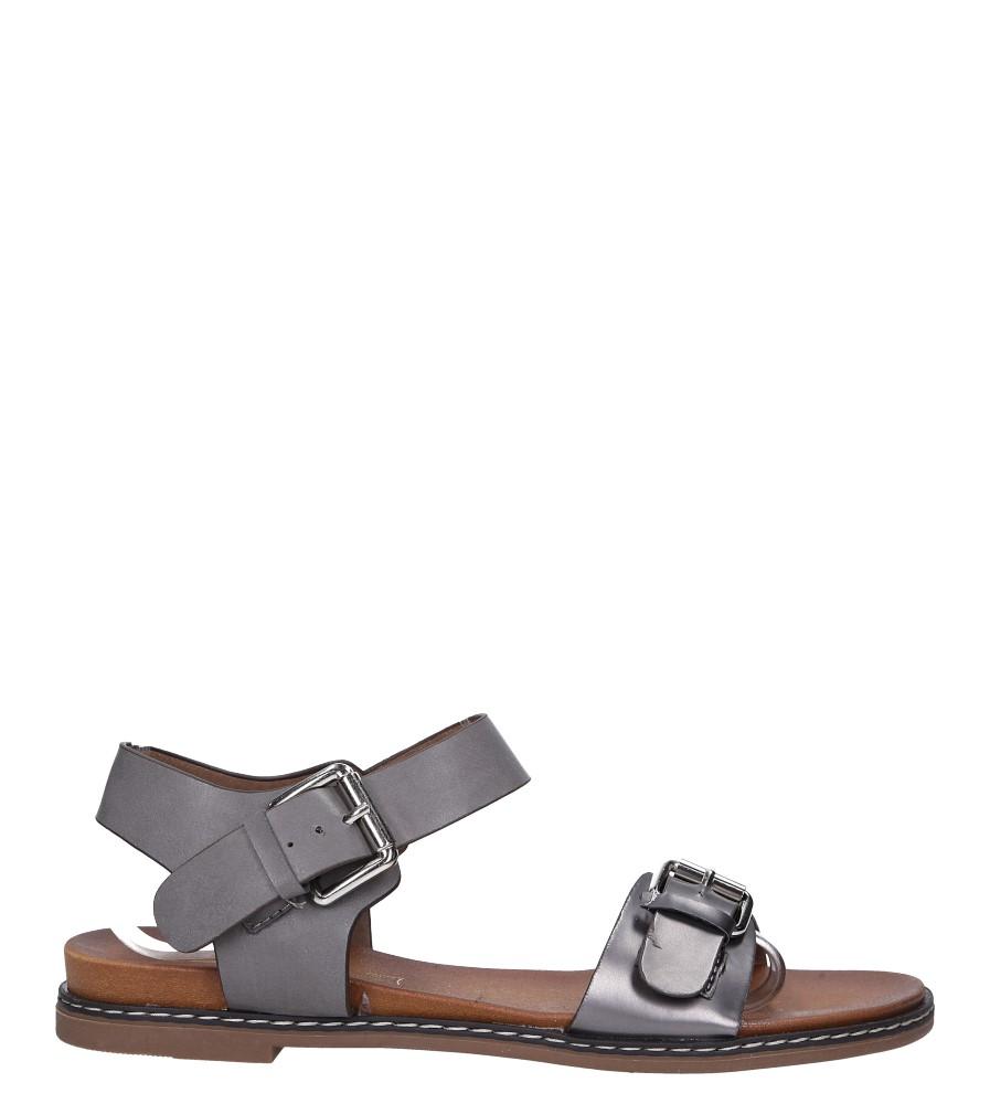 Szare modne sandały ze srebrnymi klamrami Casu K18X12/PE wysokosc_platformy 2 cm