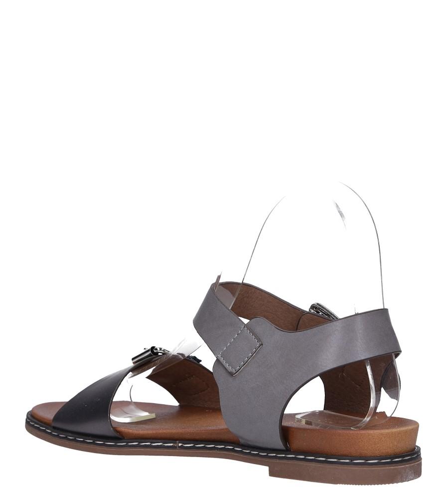 Szare modne sandały ze srebrnymi klamrami Casu K18X12/PE wys_calkowita_buta 10.5 cm