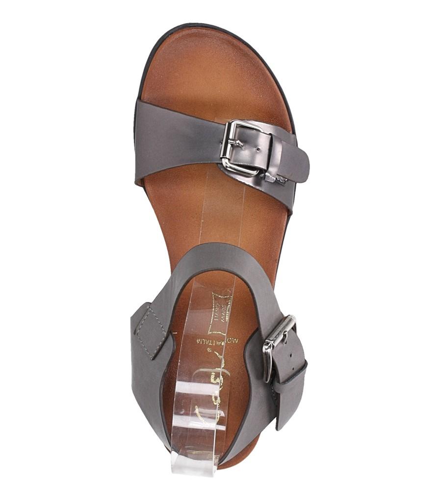 Szare modne sandały ze srebrnymi klamrami Casu K18X12/PE wierzch skóra ekologiczna