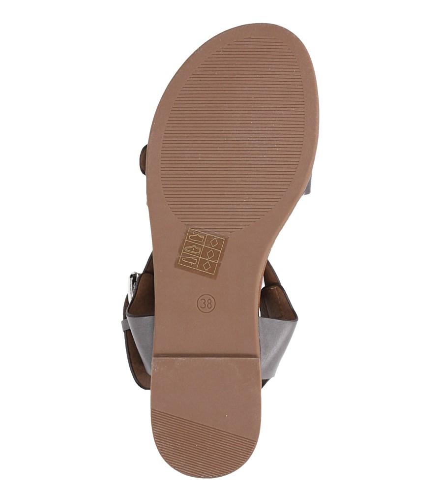Szare modne sandały ze srebrnymi klamrami Casu K18X12/PE wnetrze skóra ekologiczna