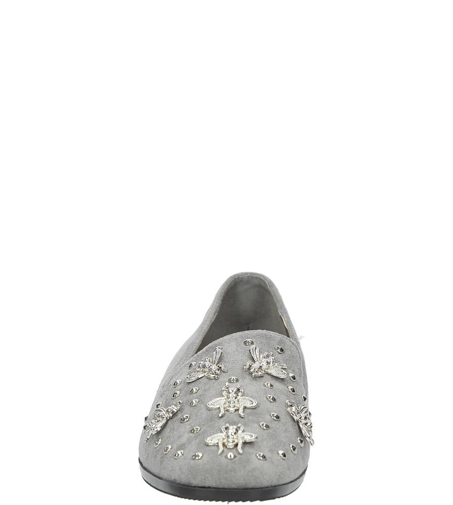 Szare półbuty lordsy z metalową ozdobą Casu 68-97 kolor szary