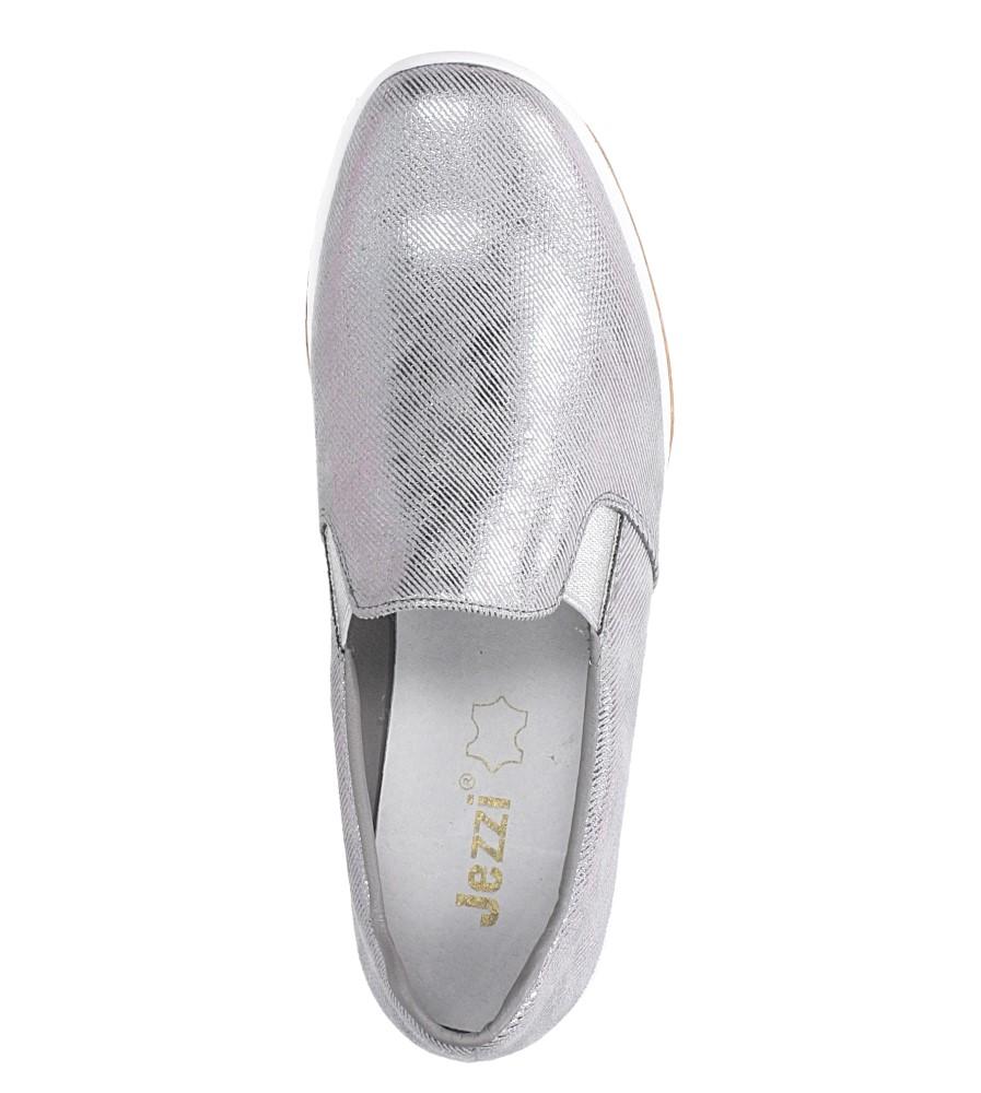 Szare półbuty slip on błyszczące na koturnie Jezzi RMR1840-1 wys_calkowita_buta 12 cm