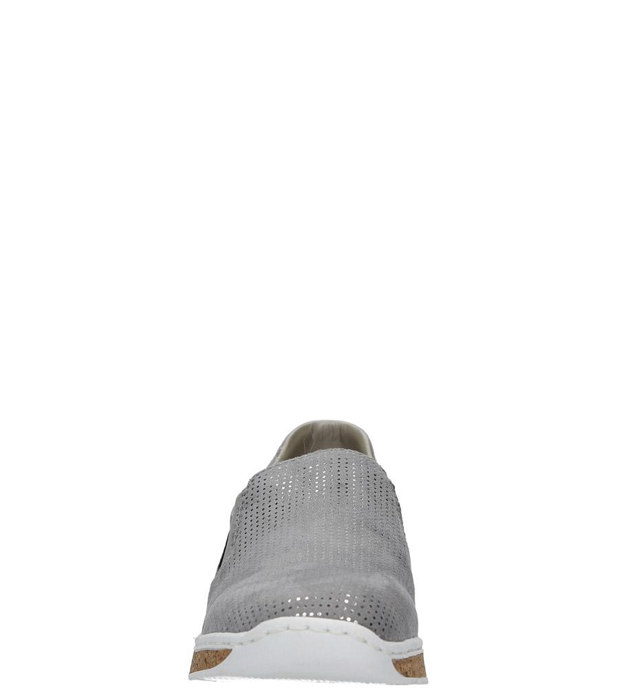 Szare półbuty slip on Rieker 59766-42 kolor srebrny, szary