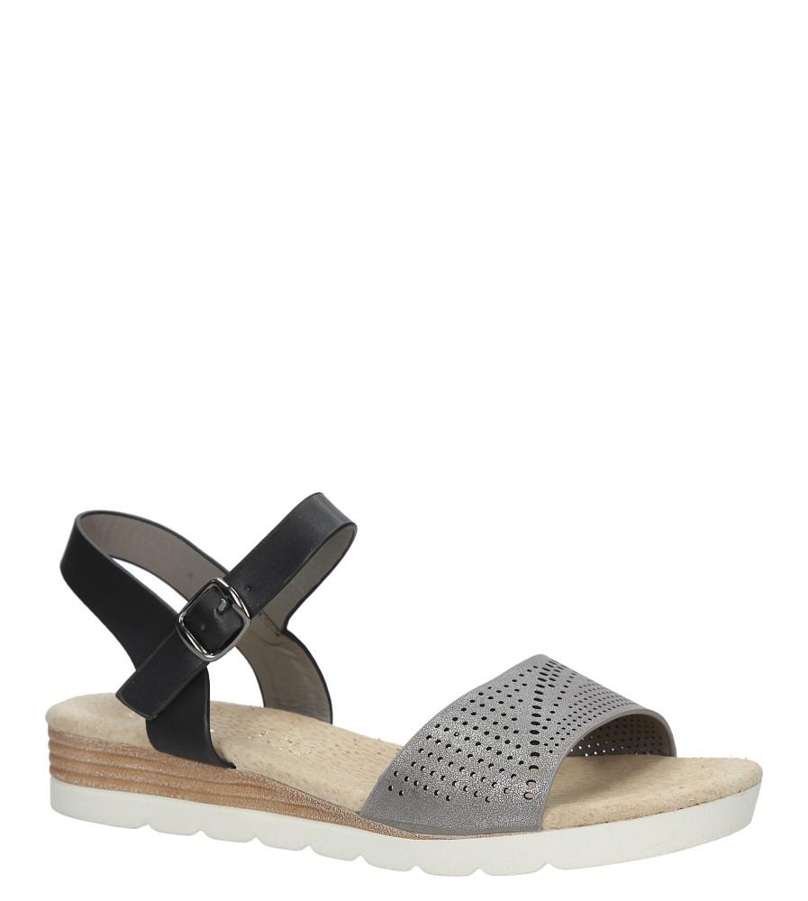 Szare sandały ażurowe na białej podeszwie ze skórzaną wkładką Casu W18X3/GB producent Casu