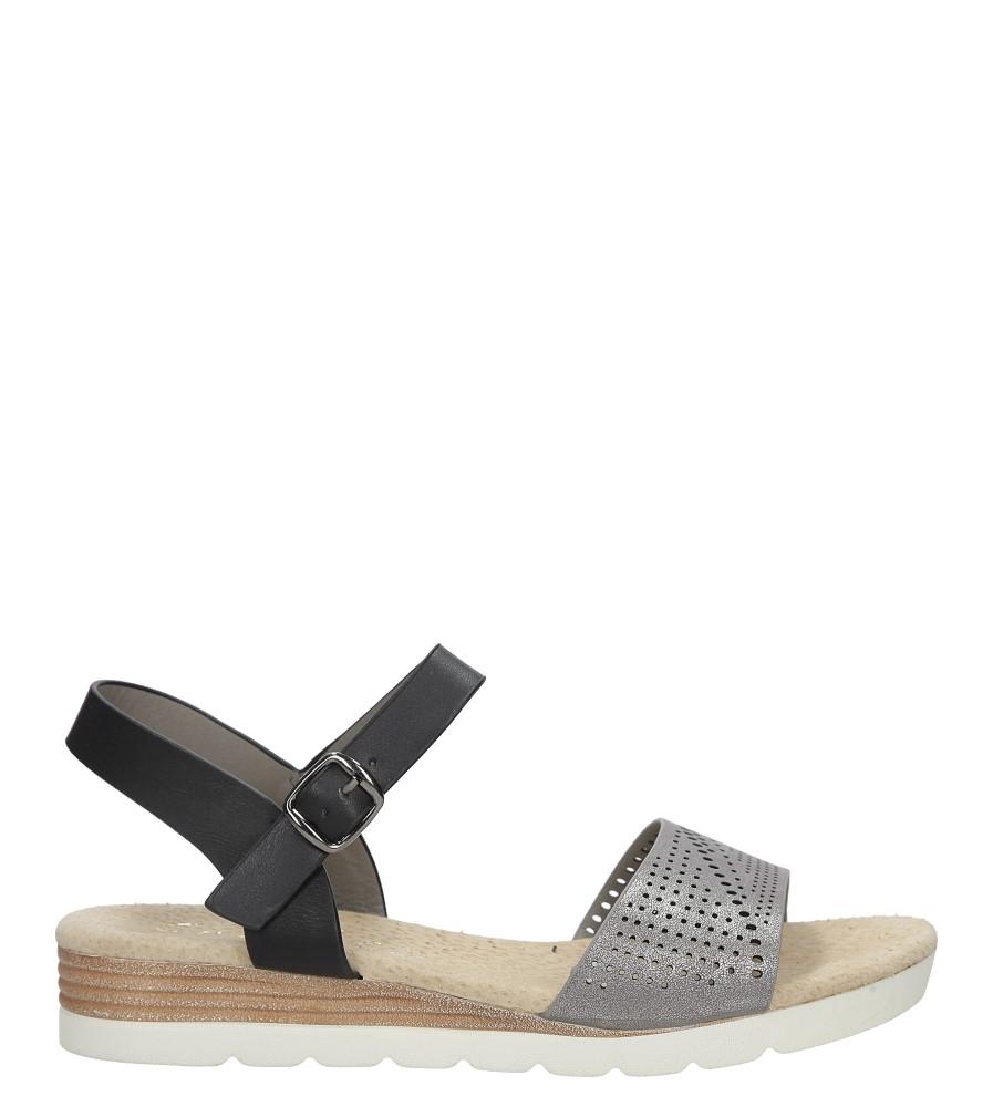 Szare sandały ażurowe na białej podeszwie ze skórzaną wkładką Casu W18X3/GB sezon Lato