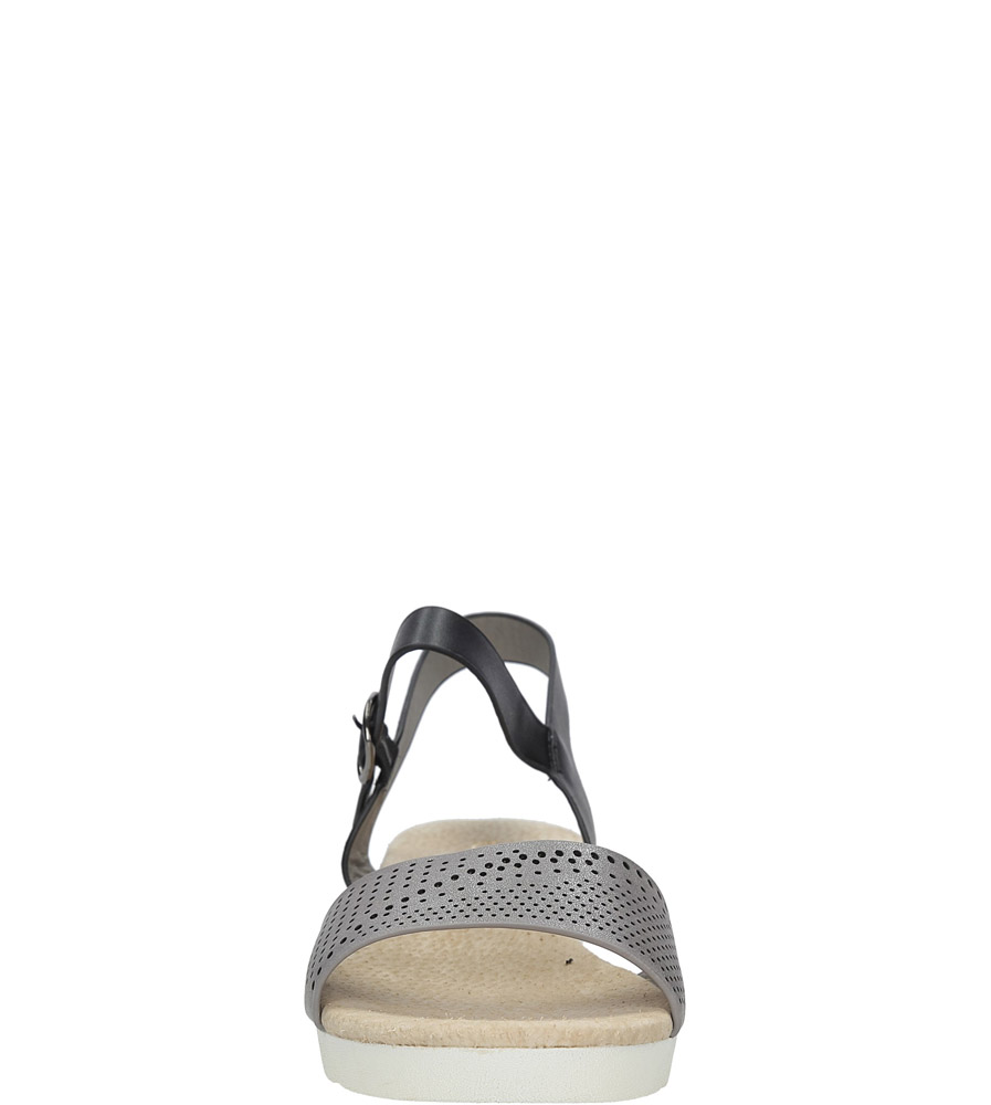Szare sandały ażurowe na białej podeszwie ze skórzaną wkładką Casu W18X3/GB style Ażurowy