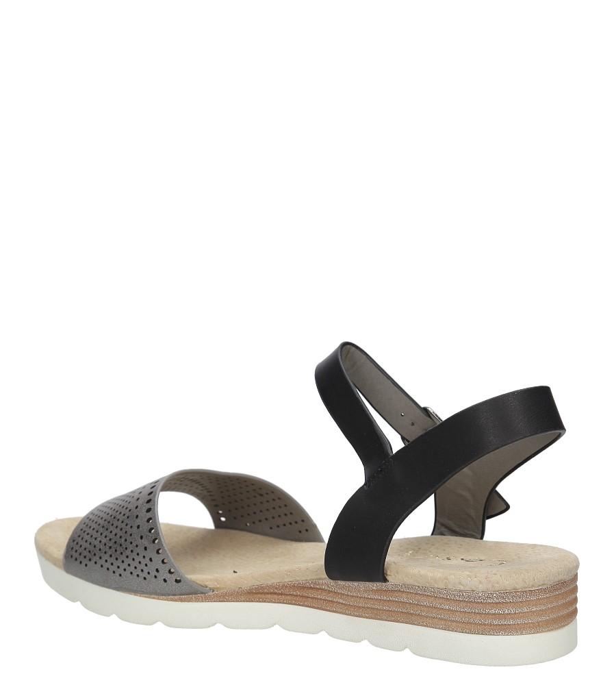 Szare sandały ażurowe na białej podeszwie ze skórzaną wkładką Casu W18X3/GB kolor czarny, stalowy