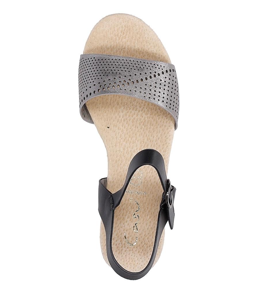 Szare sandały ażurowe na białej podeszwie ze skórzaną wkładką Casu W18X3/GB wysokosc_obcasa 3.5 cm