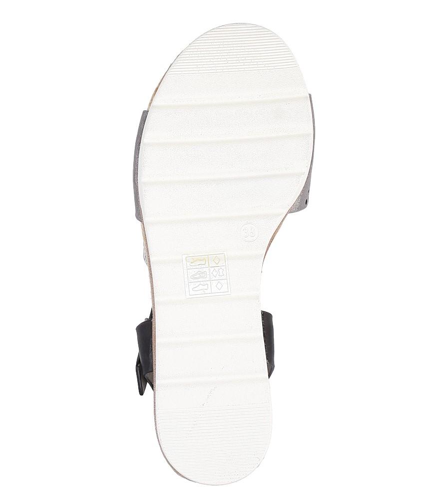 Szare sandały ażurowe na białej podeszwie ze skórzaną wkładką Casu W18X3/GB wysokosc_platformy 1.5 cm