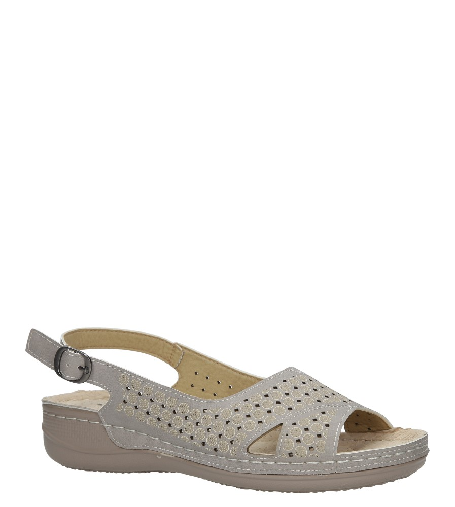Szare sandały ażurowe na koturnie Casu 37171-5