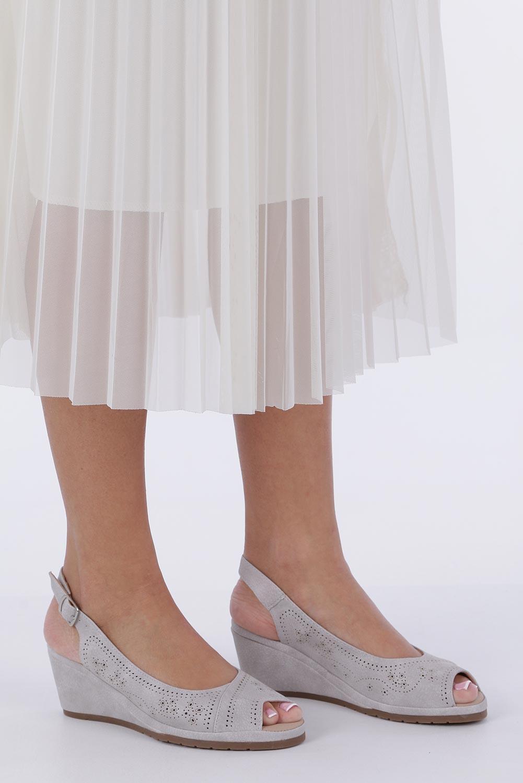 Szare sandały ażurowe na koturnie Casu W19X14/G