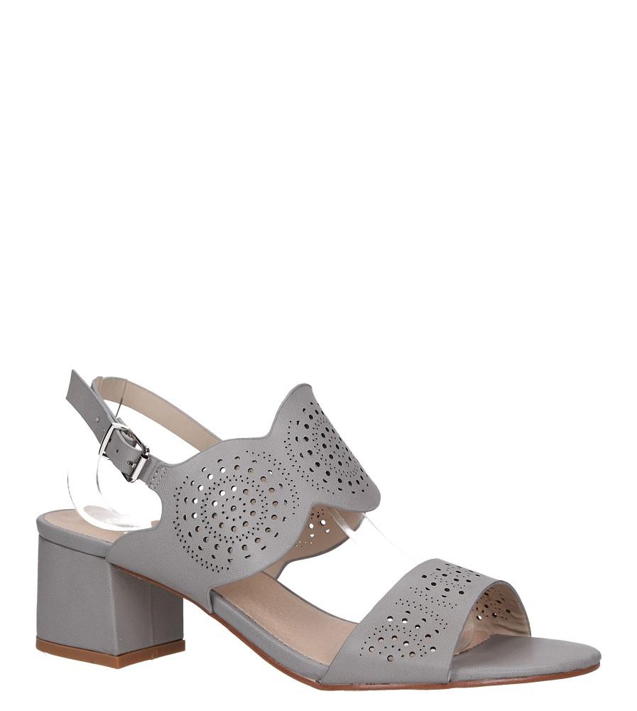 Szare sandały ażurowe na niskim obcasie skórzana wkładka Casu R19X4/G