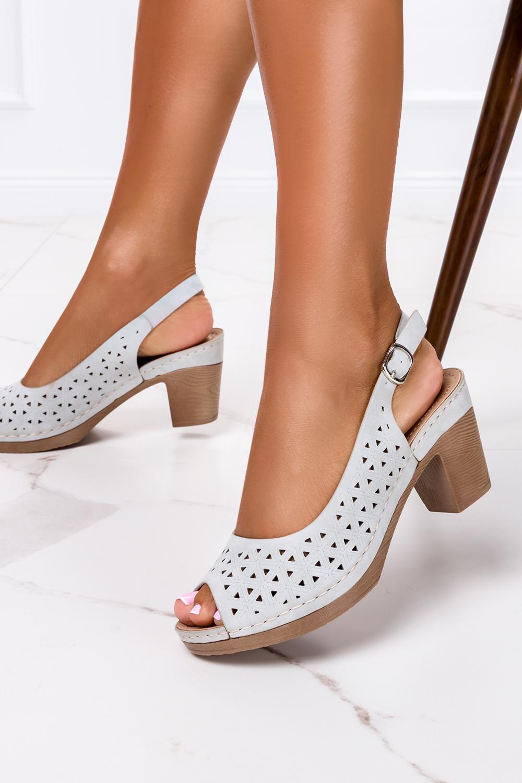 Szare sandały ażurowe na szerokim obcasie Casu W19X12/G