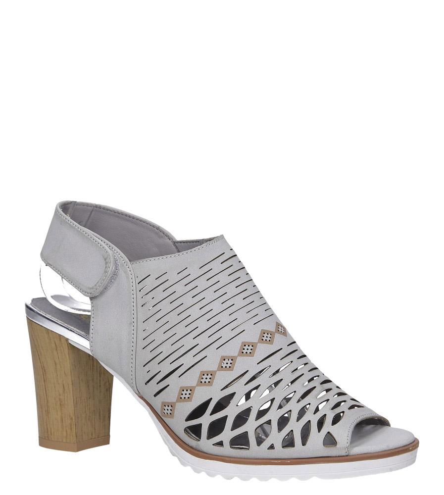 Szare sandały ażurowe zabudowane na słupku ze skórzaną wkładką Jezzi RMR1846-5 szary