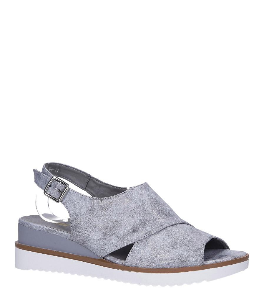 Szare sandały błyszczące na koturnie ze skórzaną wkładką Jezzi RMR1838-10