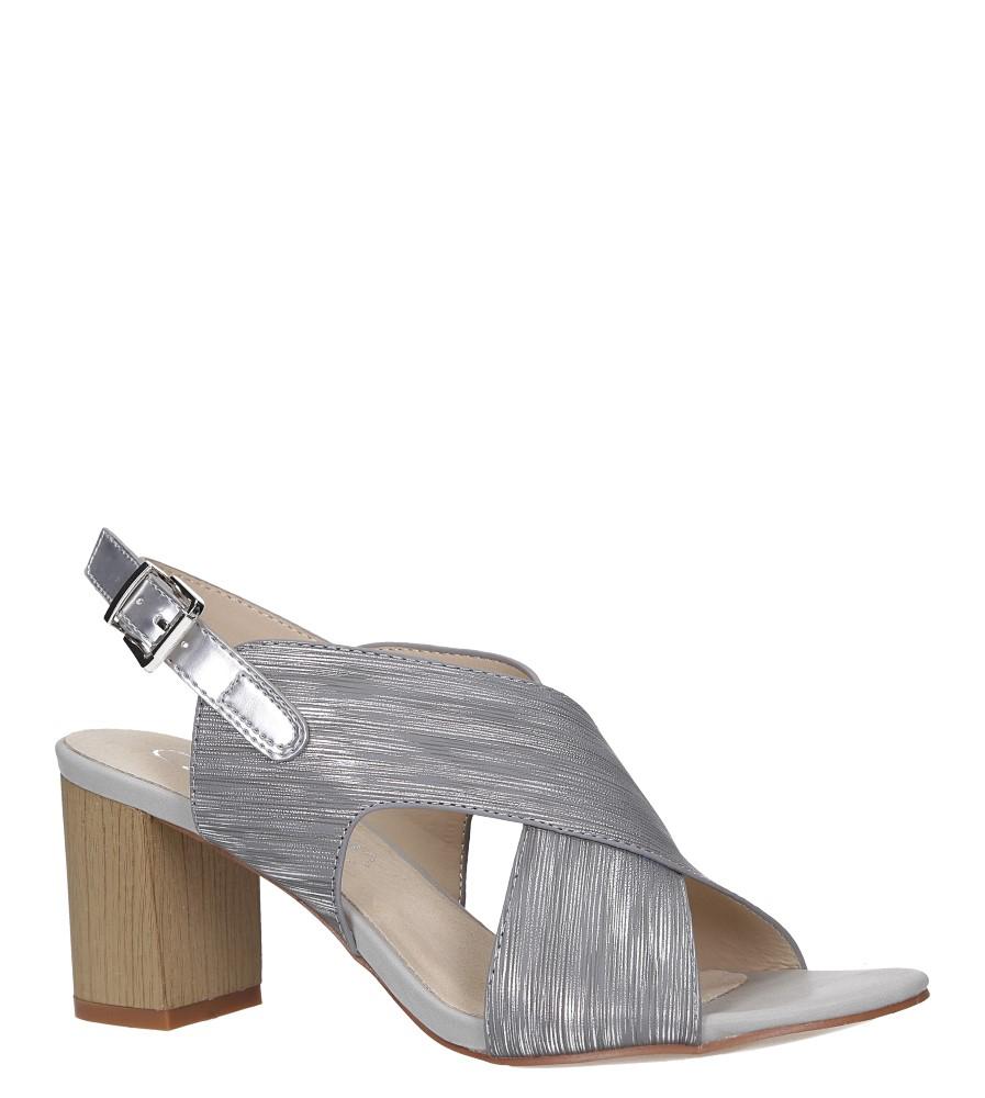 Szare sandały błyszczące na słupku z paskiem na krzyż skórzana wkładka Casu R19X2/G