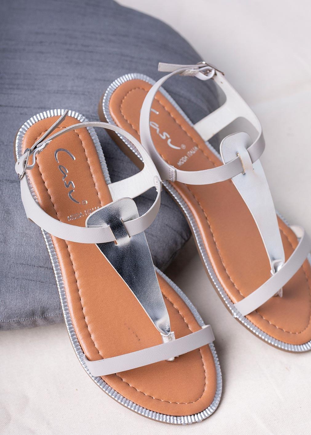 Szare sandały japonki płaskie Casu SN20X2/G szary