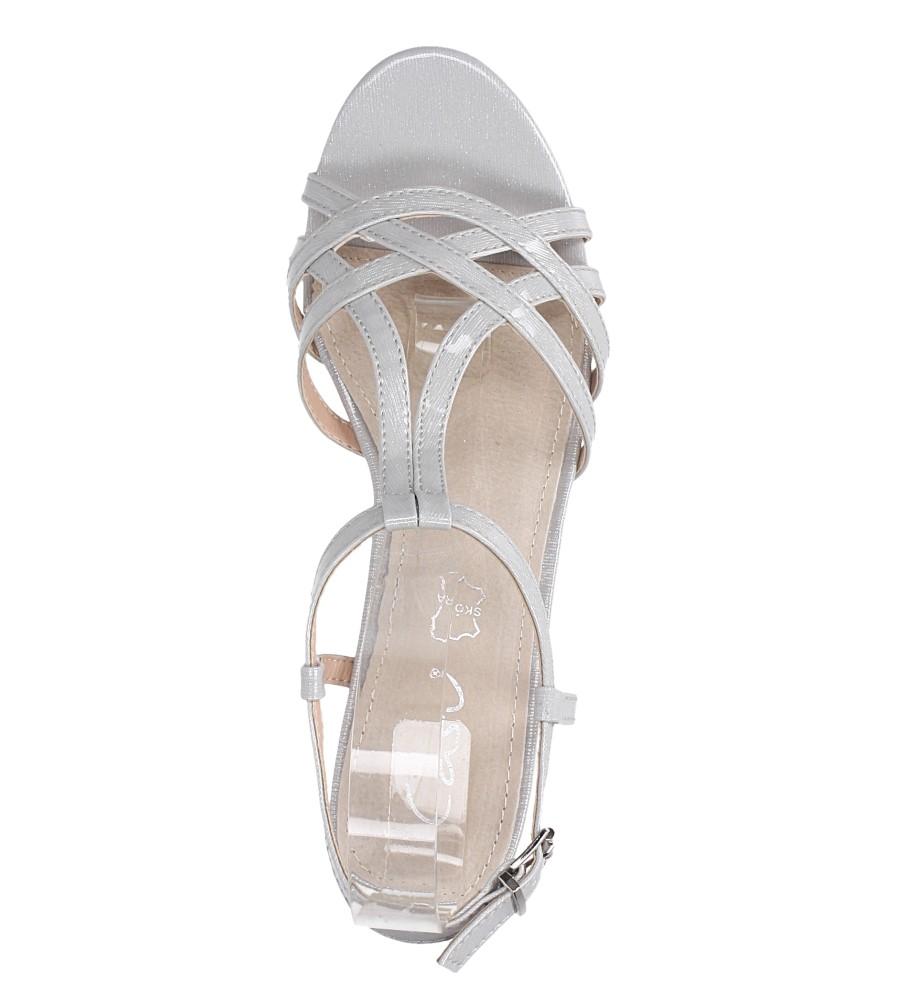 Szare sandały lakierowane na niskim obcasie ze skórzaną wkładką Casu RT19X2/G wierzch skóra ekologiczna- lakier