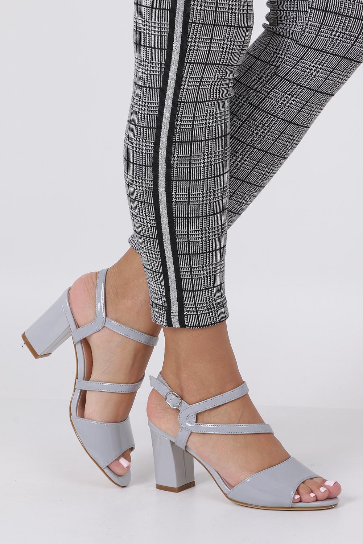 Szare sandały lakierowane na słupku Sergio Leone SK844 producent Sergio Leone