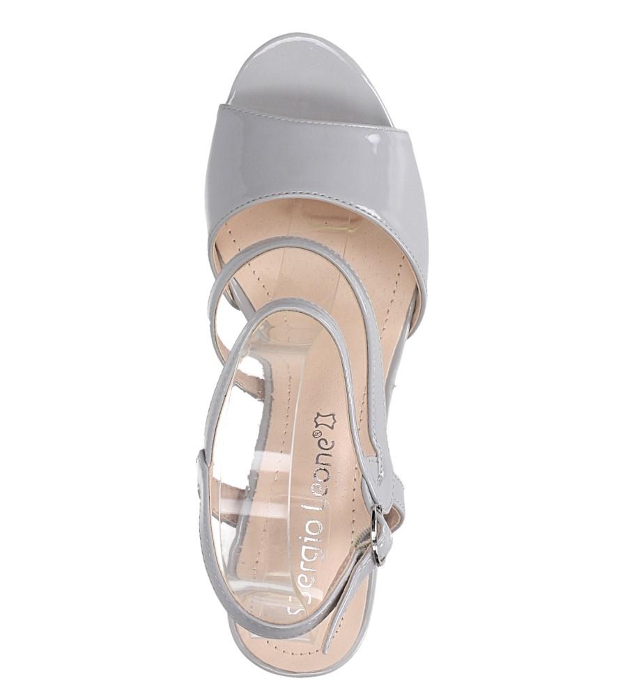 Szare sandały lakierowane na słupku Sergio Leone SK844 wierzch skóra ekologiczna- lakier