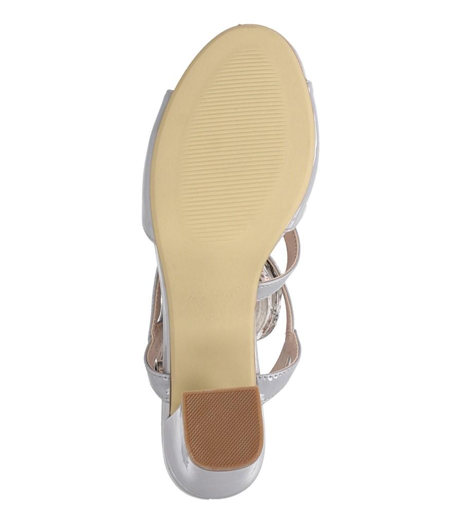 Szare sandały lakierowane na słupku Sergio Leone SK844 wnetrze skóra ekologiczna