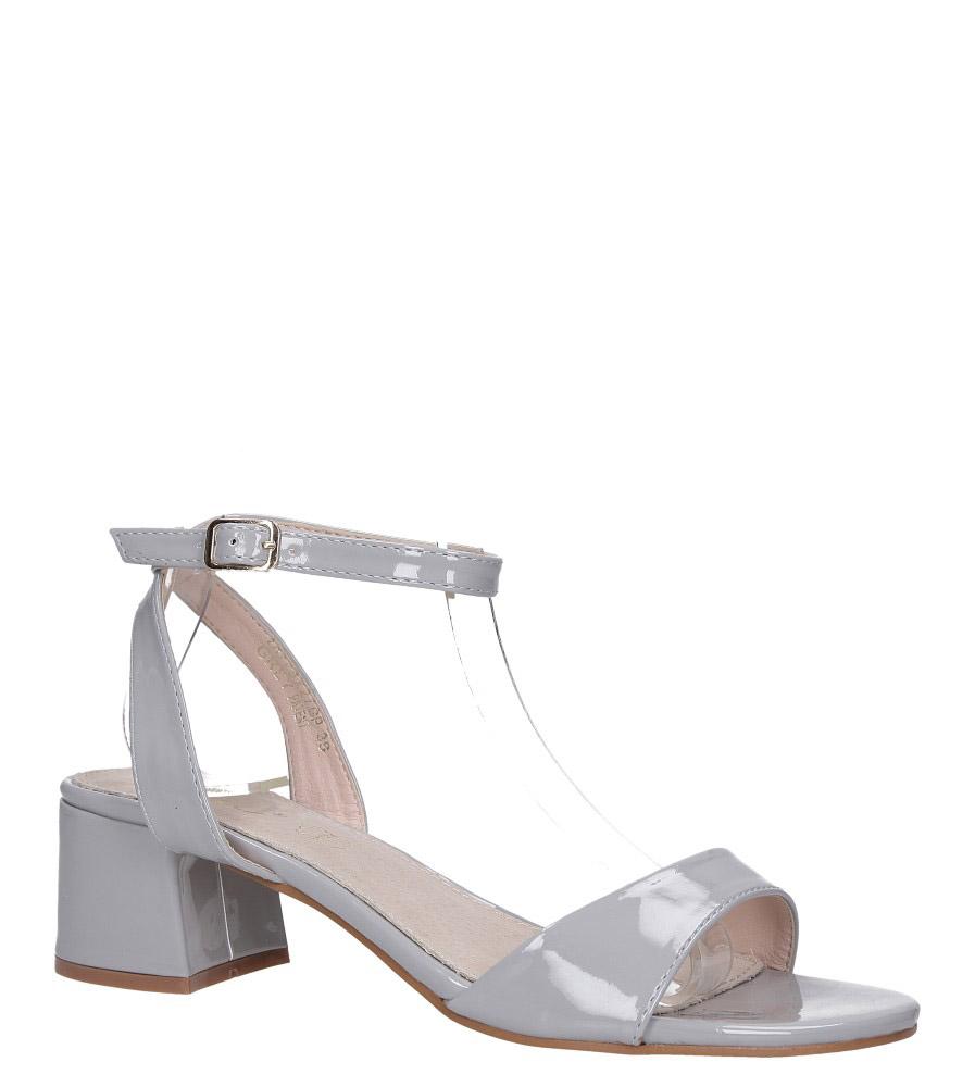 Szare sandały lakierowane ze skórzaną wkładką na szerokim niskim obcasie z paskiem wokół kostki Casu DD19X2/GP