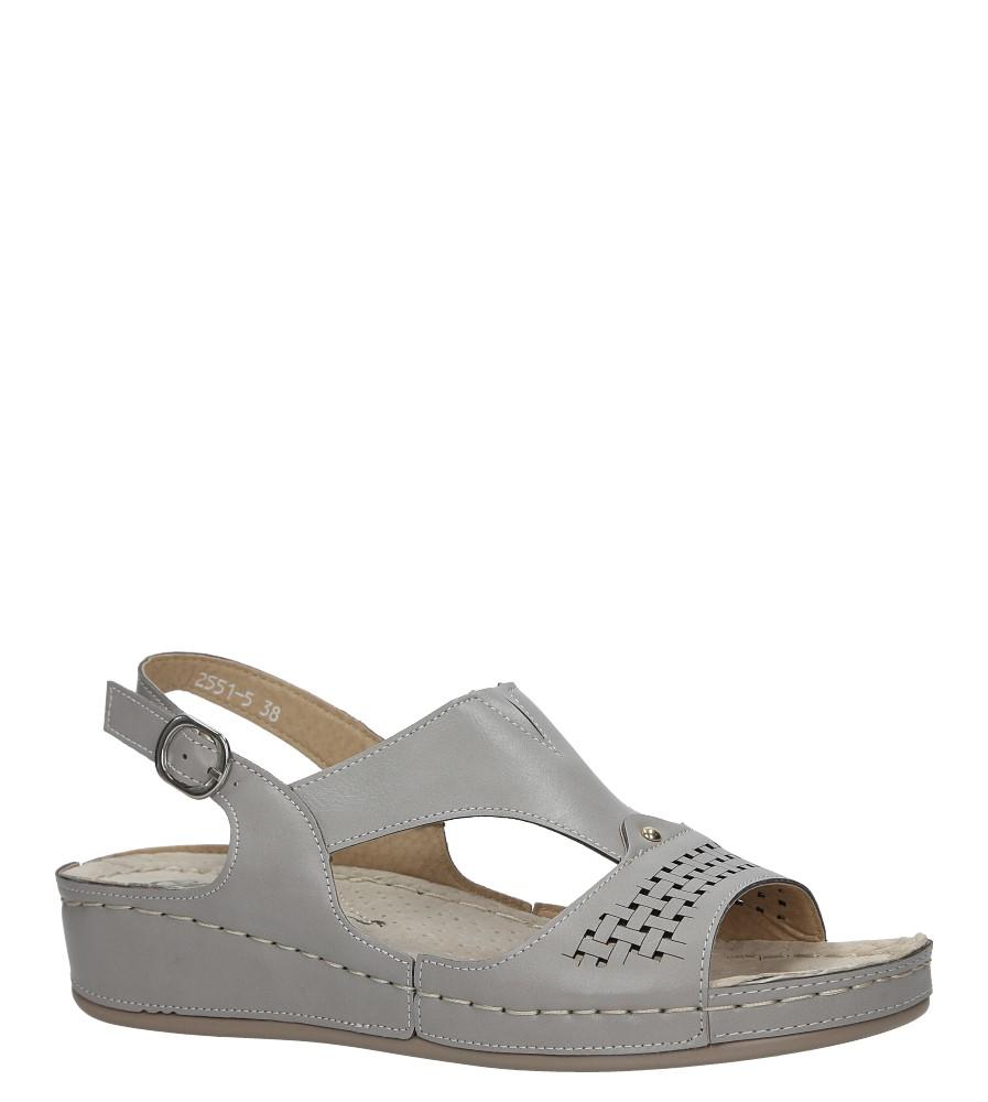 Szare sandały na koturnie Casu 2551-5