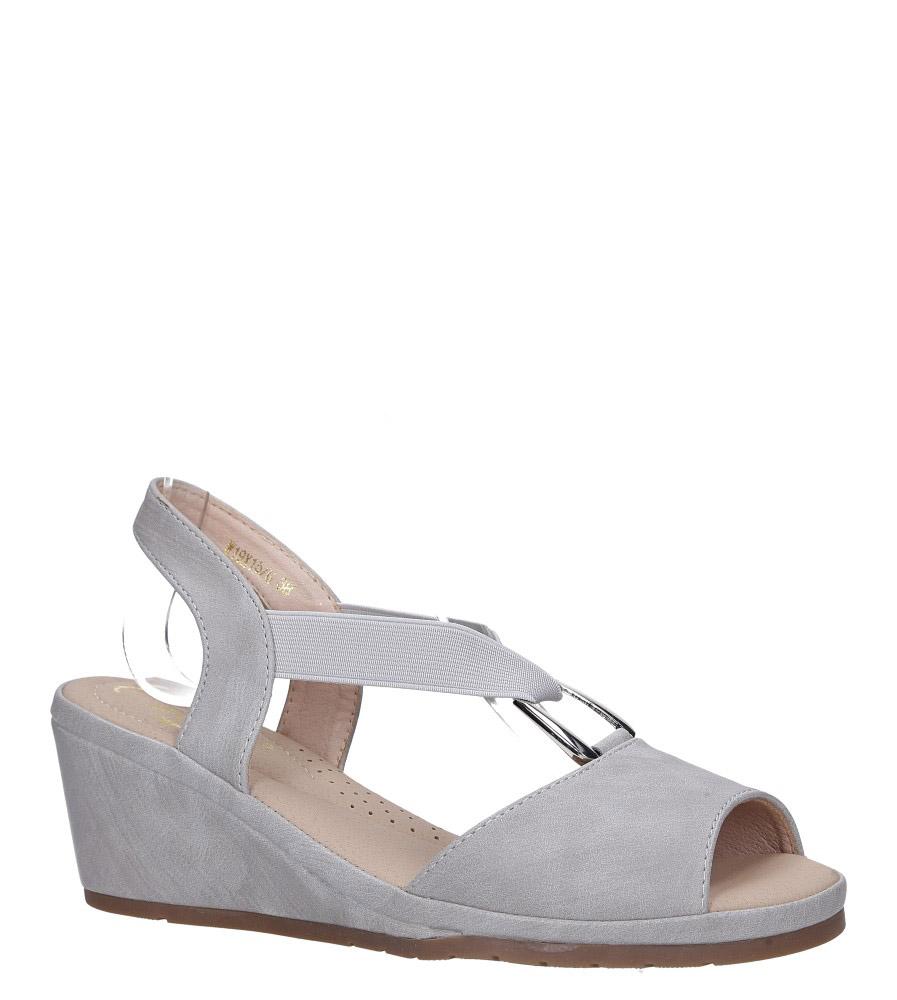 Szare sandały na koturnie z gumką metalowa ozdoba Casu W19X15/G model W19X15/G