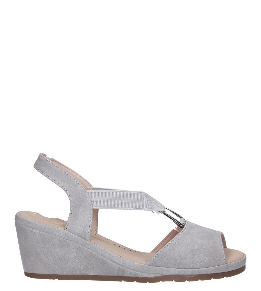 Szare sandały na koturnie z gumką metalowa ozdoba Casu W19X15/G wysokosc_platformy 1.5 cm