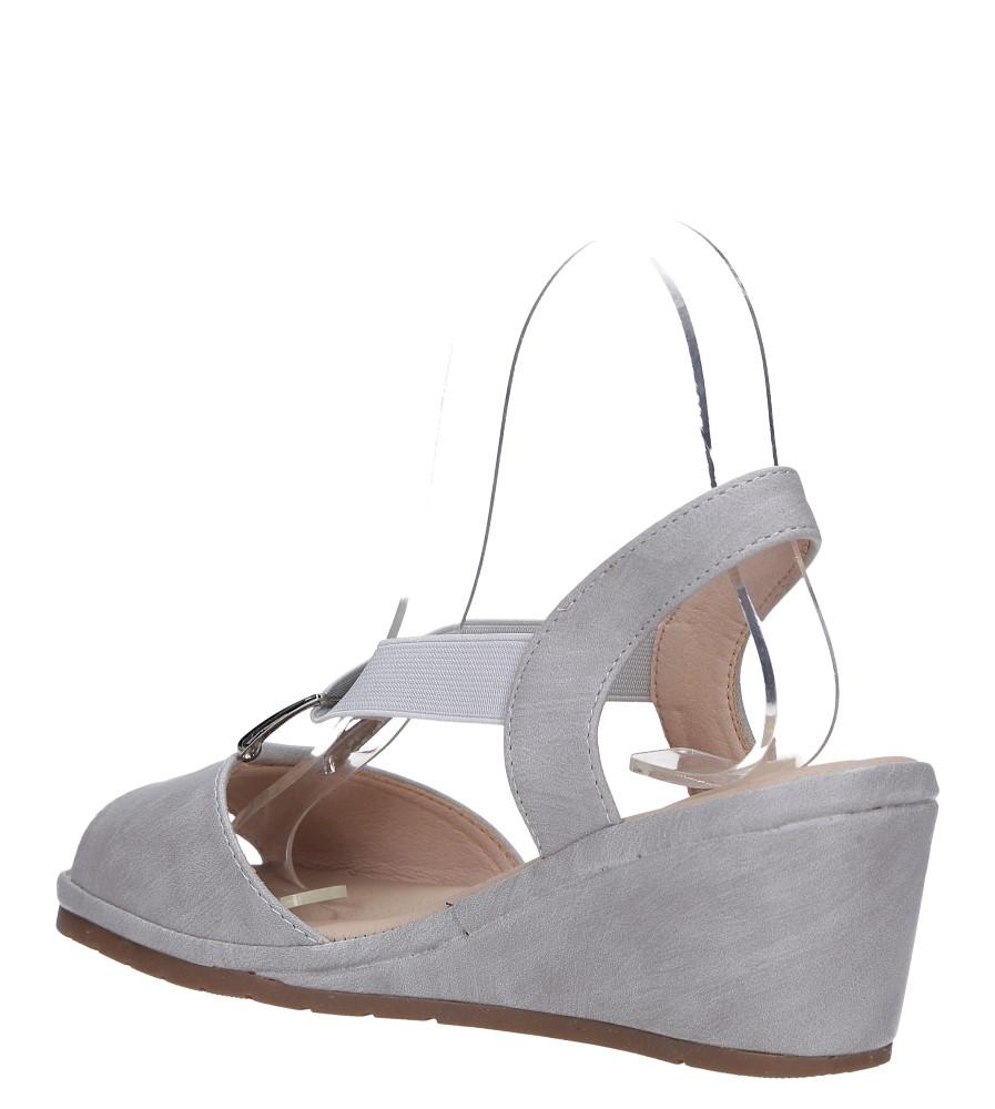 Szare sandały na koturnie z gumką metalowa ozdoba Casu W19X15/G wys_calkowita_buta 12 cm
