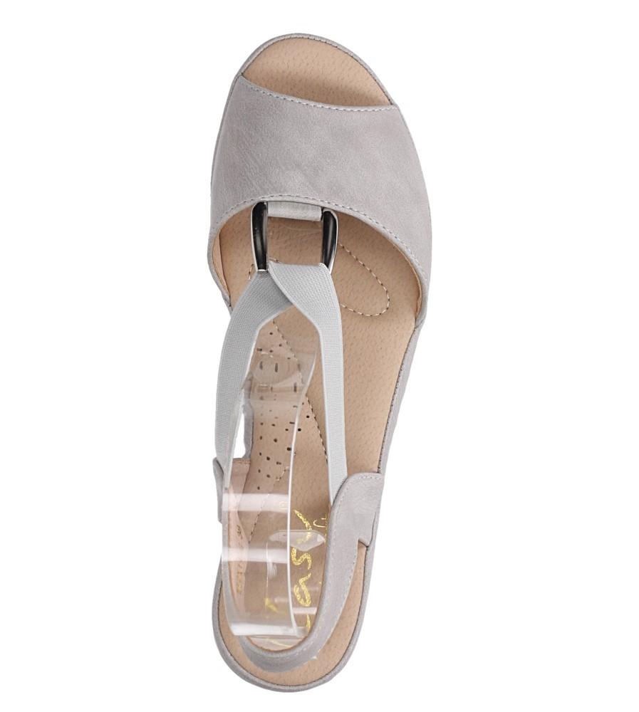 Szare sandały na koturnie z gumką metalowa ozdoba Casu W19X15/G wierzch skóra ekologiczna
