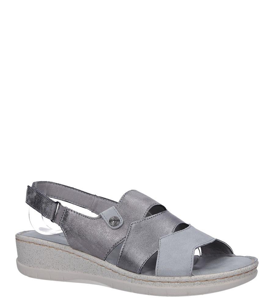 Szare sandały na koturnie z odkrytymi palcami Casu F19X5/G