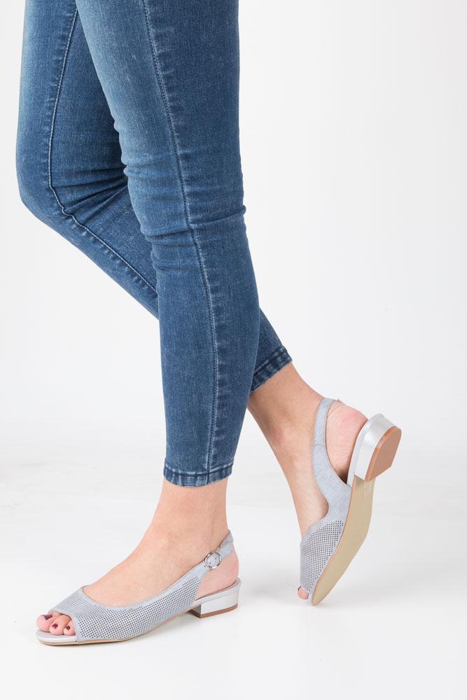 Szare sandały na niskim obcasie Sergio Leone SK809-02P