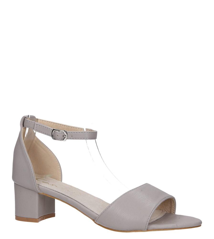 Szare sandały na obcasie niskim ze skórzaną wkładką z zakrytą piętą pasek wokół kostki Casu K19X1/G