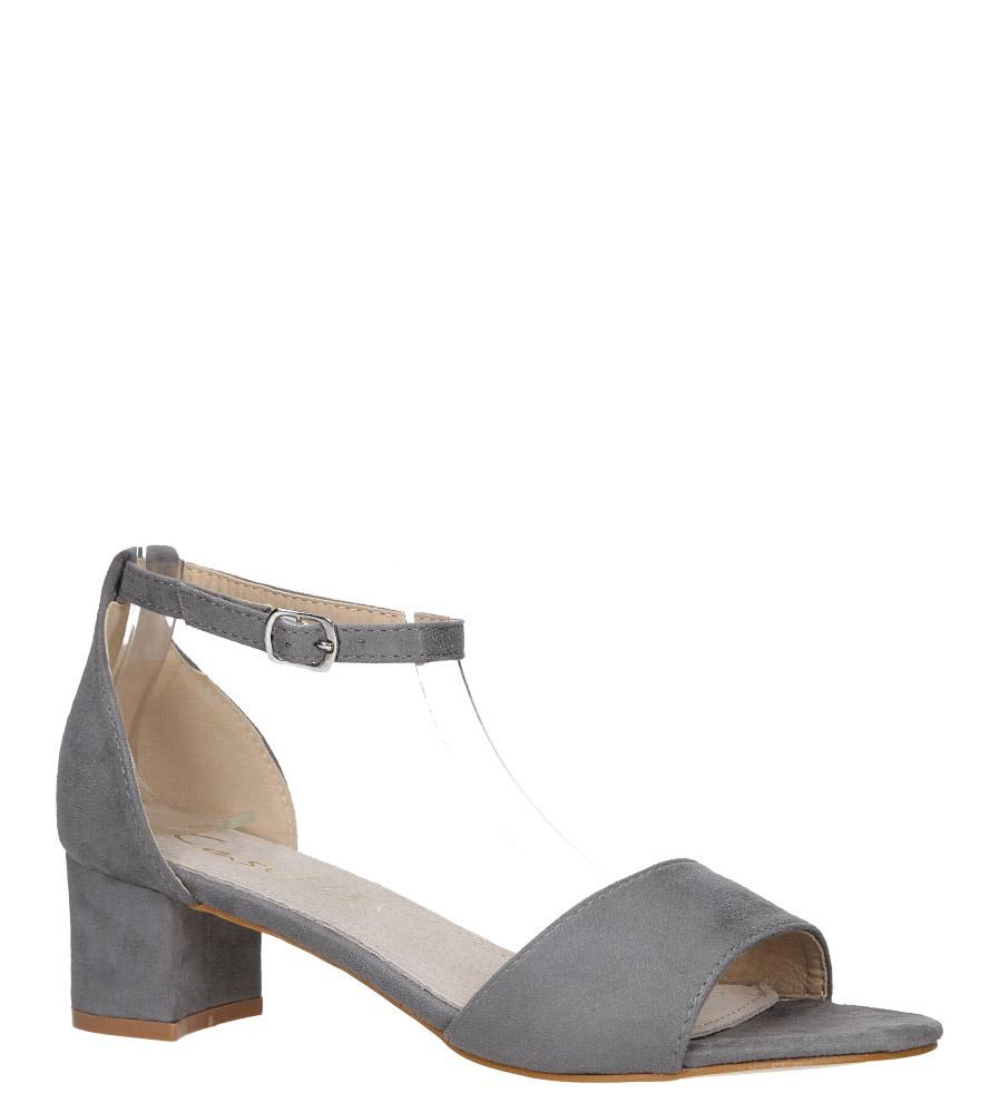 Szare sandały na obcasie niskim ze skórzaną wkładką z zakrytą piętą pasek wokół kostki Casu K19X1/GM