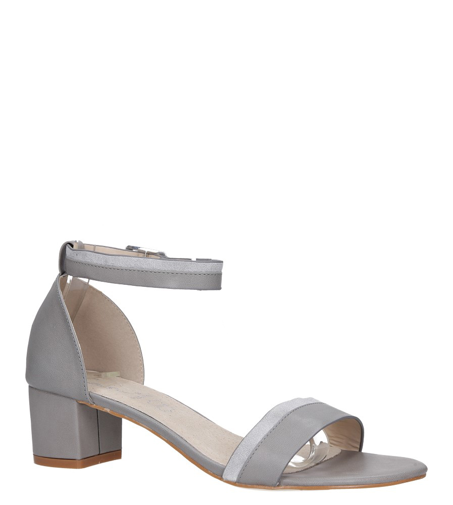Szare sandały na obcasie niskim z zakrytą piętą pasek wokół kostki skórzana wkładka Casu R19X7/G