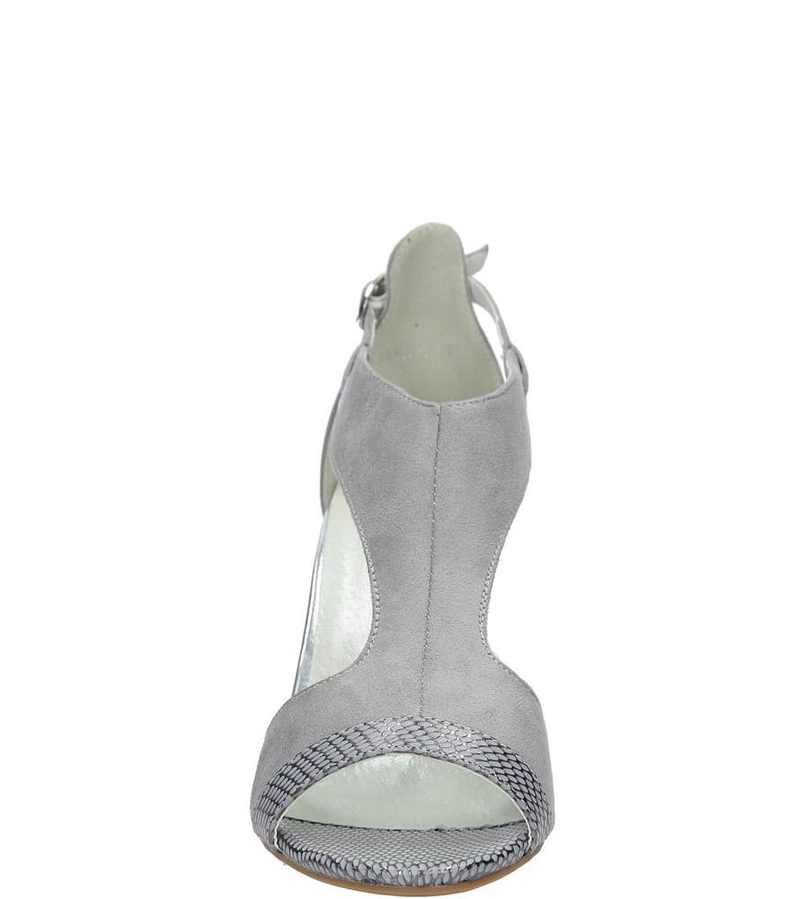 Szare sandały na obcasie Jezzi SA109-5 kolor jasny szary