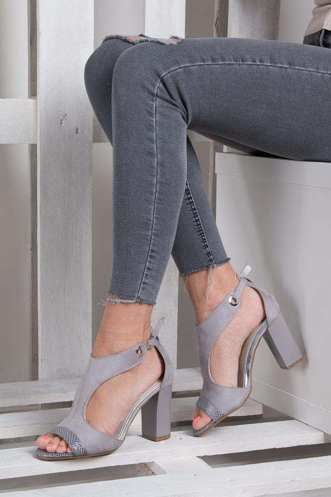 Szare sandały na obcasie Jezzi SA109-5 wnetrze skóra ekologiczna