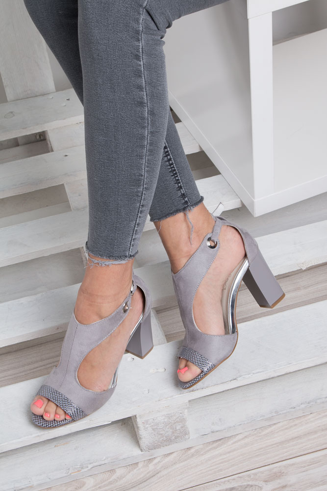 Szare sandały na obcasie Jezzi SA109-5 wkladka skóra