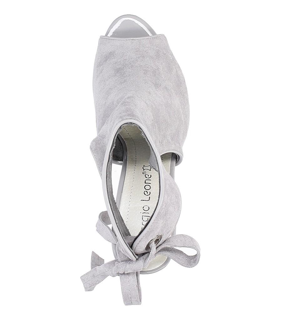 Szare sandały na obcasie z kokardą Sergio Leone 1493 wysokosc_platformy 0.5 cm