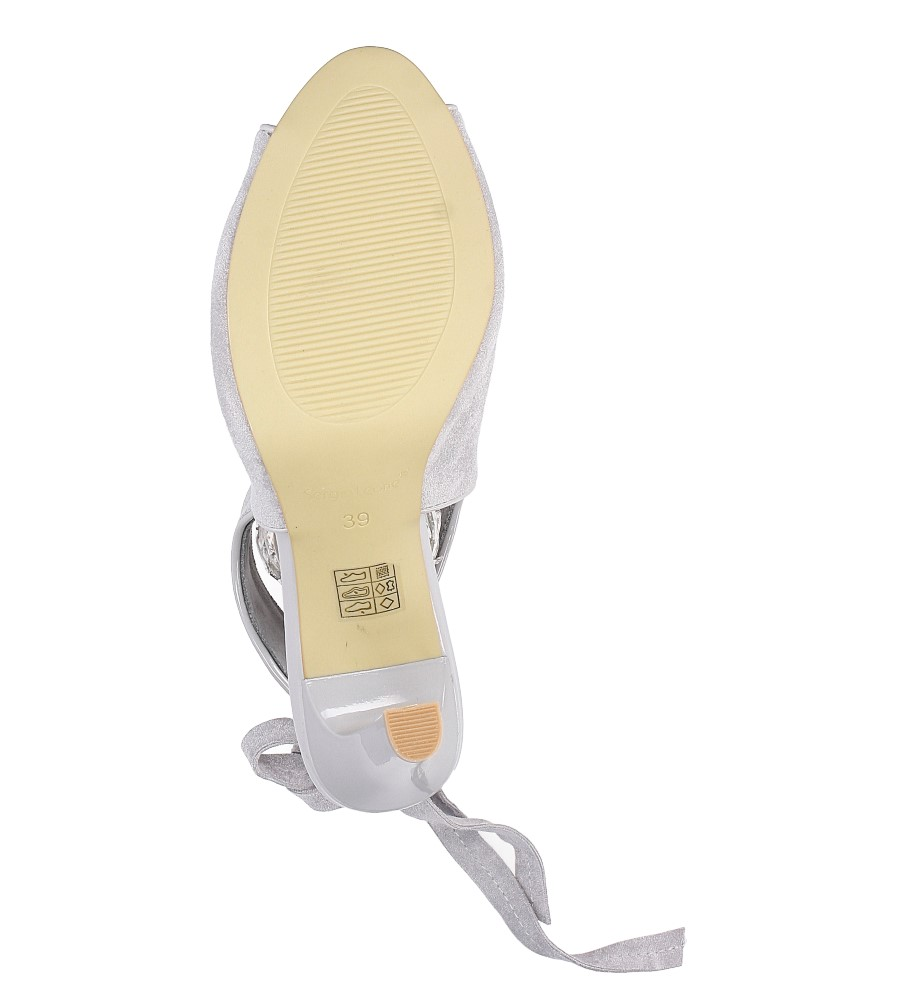 Szare sandały na obcasie z kokardą Sergio Leone 1493 wys_calkowita_buta 18.5 cm