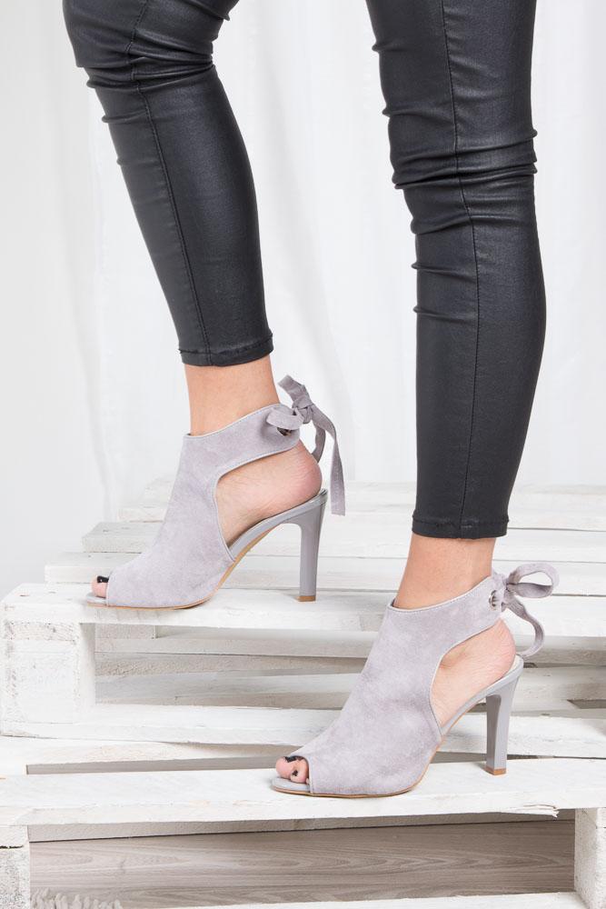 Szare sandały na obcasie z kokardą Sergio Leone 1493 material_obcasa wysokogatunkowe tworzywo
