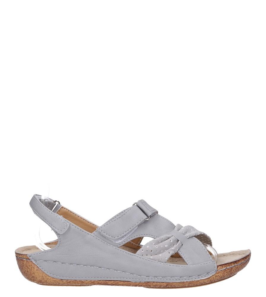 Szare sandały na rzep Casu 88802-3