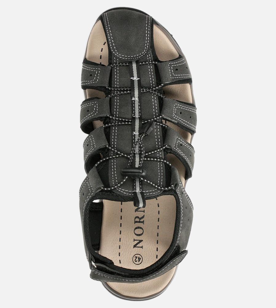 Szare sandały na rzep Casu B9661 kolor szary