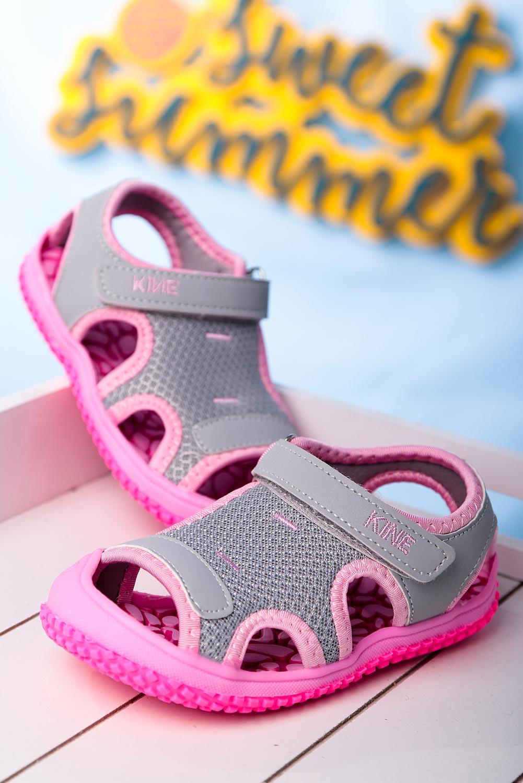 Szare sandały na rzep Casu TLX-2562 szary
