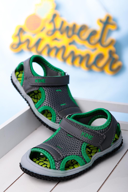 Szare sandały na rzep Casu TLX-2562 ciemny szary