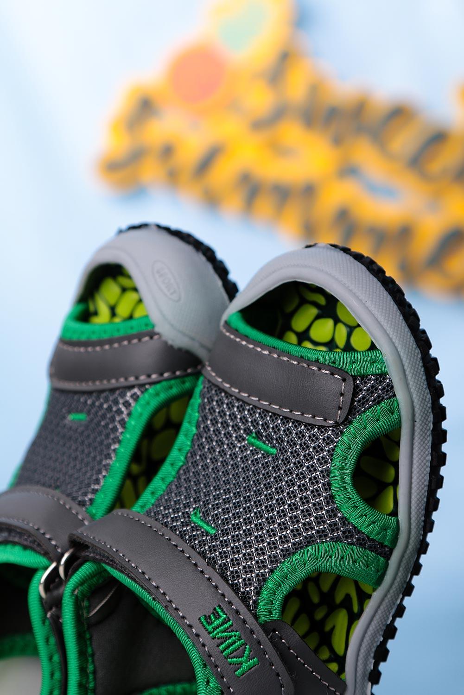Szare sandały na rzep Casu TLX-2562